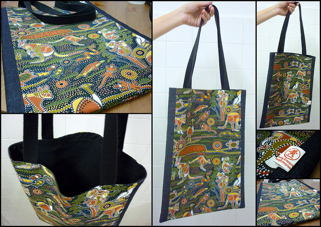 11ffbdd222 Denim with flowers fabric tote bag – I spent sometime hunting for a  light-blue strip handle to match dark blue denim fabric so that the tote bag  design ...